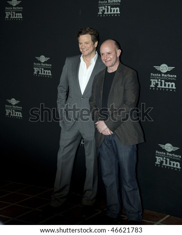 SANTA BARBARA - FEB. 13- Colin Firth and Nick Hornby before the Outstanding Performance of the Year presentation at the 25th Santa Barbara International Film Festival, Feb. 13 2010 in Santa Barbara CA