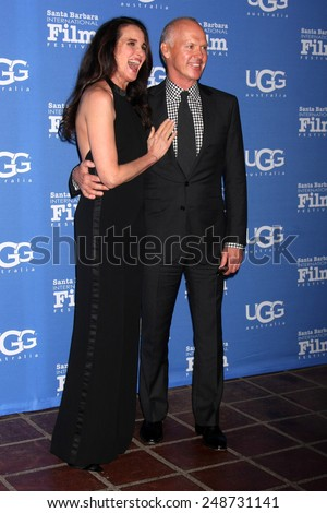 SANTA BARBARA - JAN 31:  Andie MacDowell, Michael Keaton at the Santa Barbara International Film Festival - Modern Master at a Arlington Theater on January 31, 2015 in Santa Barbara, CA - stock photo