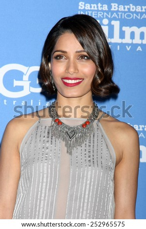 "SANTA BARBARA - JAN 27:  Freida Pinto at the Santa Barbara International Film Festival - US Premiere of ""Desert Dancer"" at a Arlington Theater on January 27, 2015 in Santa Barbara, CA - stock photo"