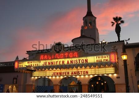 SANTA BARBARA - JAN 30:  Jennifer Aniston Marquee SBIFF at the Santa Barbara International Film Festival - Montecito Award at a Arlington Theater on January 30, 2015 in Santa Barbara, CA - stock photo