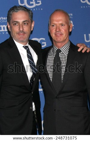 SANTA BARBARA - JAN 31:  John Lesher, Michael Keaton at the Santa Barbara International Film Festival - Modern Master at a Arlington Theater on January 31, 2015 in Santa Barbara, CA - stock photo