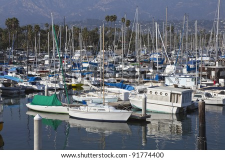 Santa Barbara Marina on a warm and bright afternoon. - stock photo
