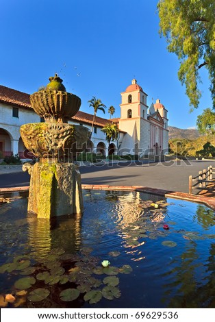 Santa barbara mission, ca, usa - stock photo