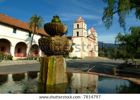 Santa barbara mission, santa barbara, ca, usa - stock photo