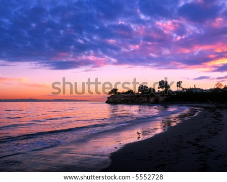 Santa Barbara sunset at Leadbetter beach. - stock photo