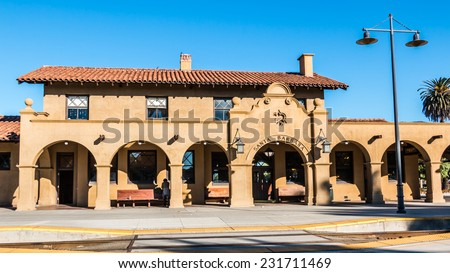 Santa Barbara Train Station. The Santa Barbara Train Station, a passenger rail station in Santa Barbara, California. Built in 1902, it has been placed on the National Register of Historic Places - stock photo