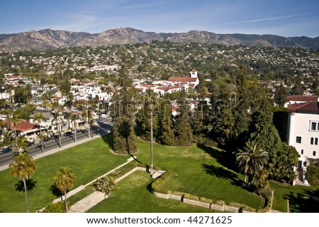 Santa Barbara view from atop the County Courthouse to the mountains - stock photo