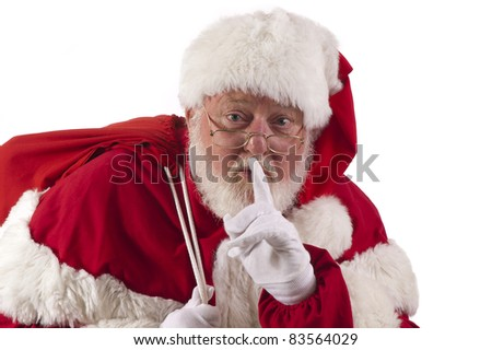 Santa being quiet - stock photo