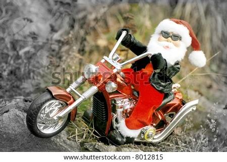 santa biker - stock photo