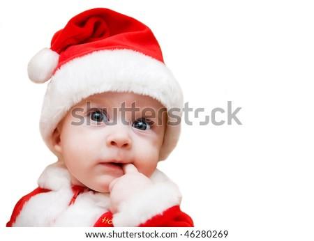 Santa boy on his first Christmas on white background - stock photo