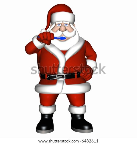 Santa brushing his teeth with a blue toothbrush. Isolated on a white background.