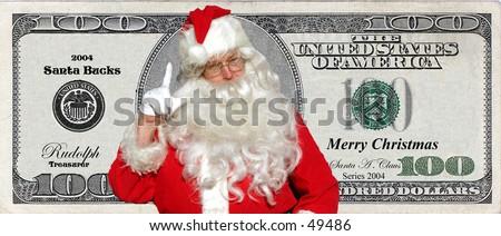 Santa bucks money for christmas from the jolly ol elf himselfwho could