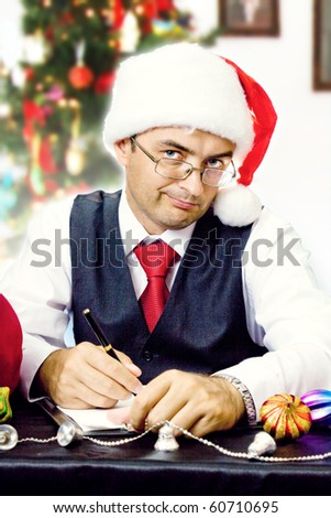 Santa business man. Christmas and new year holidays.