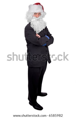 Santa Businessman with crossed arms isolated over white - stock photo