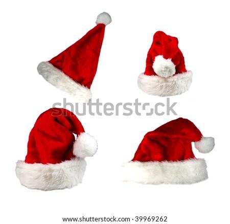 Santa cap collection - stock photo