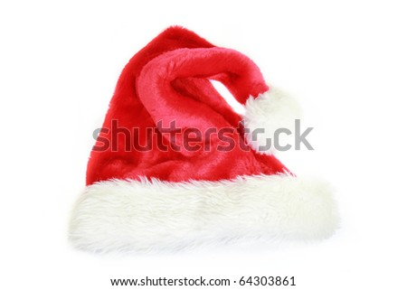 Santa cap isolated on white background - stock photo