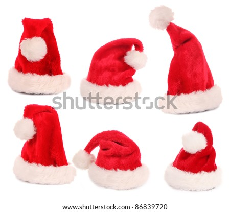 Santa caps collection, various poses.Isolated on white background - stock photo