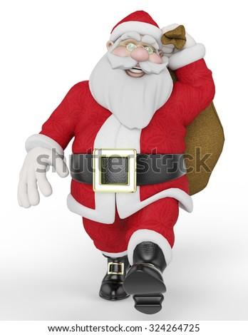 santa carring the bag - stock photo