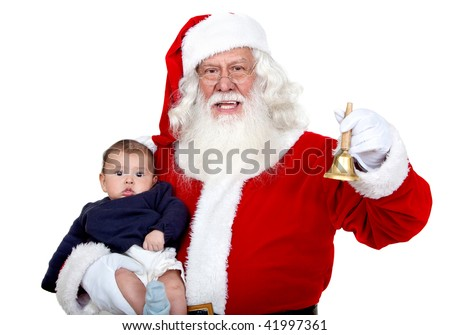 Santa carrying a baby and ringing a bell isolated on white