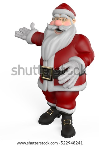 santa cartoon come to see that xmas time 3d illustration