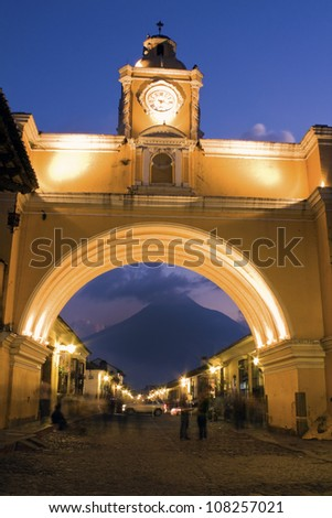 Santa Catalina Arch seen during sunset - Antigua, Guatemala - stock photo