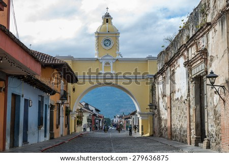 Santa Catalina Arch tower in Antigua, Guatemala - stock photo