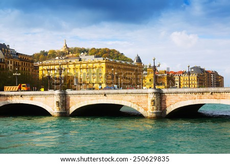 Santa Catalina bridge over Urumea.  Donostia, Spain - stock photo