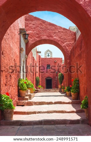 Santa Catalina Monastery, Arequipa, it's the most important religious monument of Peru - stock photo