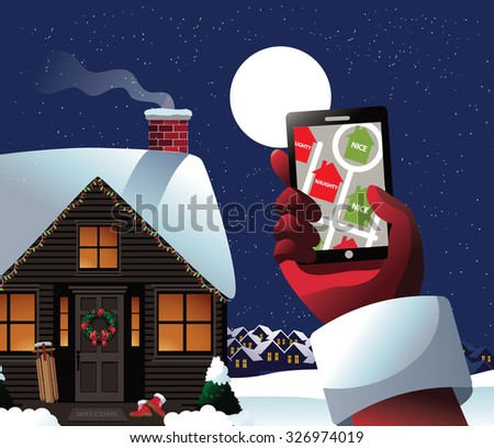 Santa checks his GPS to see who's naughty or nice. Royalty free stock illustration for ad, promotion, poster, flier, blog, article, social media, marketing, greeting card - stock photo