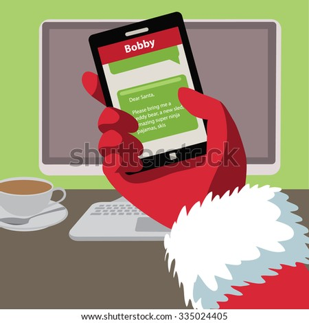Santa checks his text messages for letters from children. Flat design - stock photo