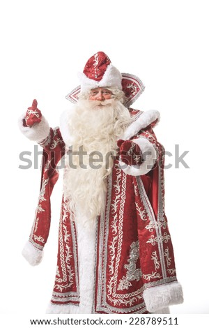 santa chlaus or russian ded moroz on white background - stock photo