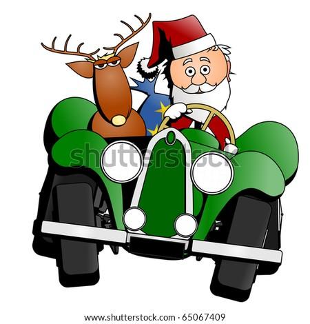Santa Christmas car - stock photo