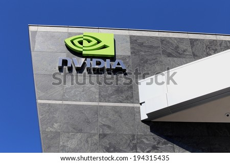 SANTA CLARA, CA � MARCH 18: The Nvidia World Headquarters located in Santa Clara, California on March 18, 2014. Nvidia is an American global technology company which makes graphics processing units. - stock photo