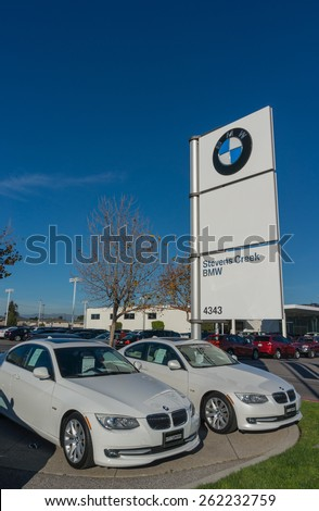 SANTA CLARA, CA/USA - FEBRUARY 16: BMW cars on display on Feb 16, 2015 in Santa Clara, CA. BMW is a German automobile, motorcycle and engine manufacturing company, headquartered in Munich. - stock photo
