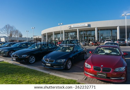 SANTA CLARA, CA/USA - FEBRUARY 15: BMW cars on display on Feb 16, 2015 in Santa Clara, CA. BMW is a German automobile, motorcycle and engine manufacturing company, headquartered in Munich. - stock photo