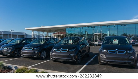 SANTA CLARA, CA/USA - FEBRUARY 15: BMW electric cars on display on Feb 16, 2015 in Santa Clara, CA. BMW is a German automobile, motorcycle and engine manufacturing company, headquartered in Munich. - stock photo
