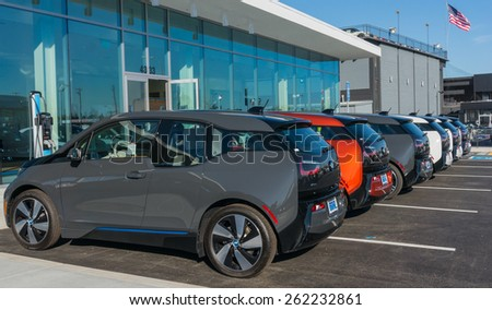 SANTA CLARA, CA/USA - FEBRUARY 16: BMW electric cars on display on Feb 16, 2015 in Santa Clara, CA. BMW is a German automobile, motorcycle and engine manufacturing company, headquartered in Munich. - stock photo