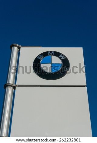 SANTA CLARA, CA/USA - FEBRUARY 15: BMW logo on display on Feb 16, 2015 in Santa Clara, CA. BMW is a German automobile, motorcycle and engine manufacturing company, headquartered in Munich. - stock photo