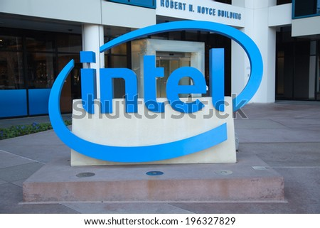 SANTA CLARA, CA/USA - JANUARY 04, 2014: Intel Sign at Corporate Headquarters. Intel is inventor of the x86 microprocessor, the processors found in most personal computers. - stock photo