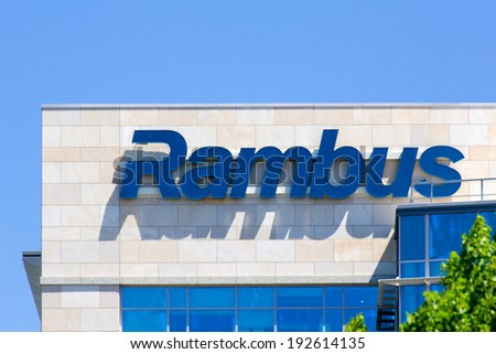 SANTA CLARA, CA/USA - MAY 11, 2014: Rambus Corporate Headquarters building in Silicon Valley. Rambus is an American technology licensing company specializing in intellectual property-based litigation. - stock photo