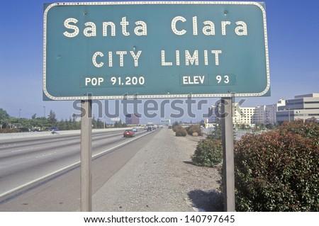 Santa Clara City Limit sign, Santa Clara, Silicon Valley, California - stock photo