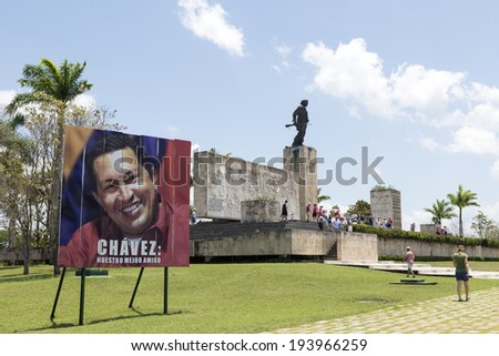 SANTA CLARA, CUBA, MAY 9, 2014. Tourists visit monument and mausoleum of Ernesto Che Guevara in Santa Clara, Cuba, on May 9, 2014 - stock photo