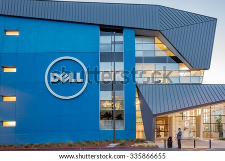 Santa Clara - NOVEMBER 5: DELL Entrance within Campus in contemporary architecture by Internationally renowned architectural firm PEI COBB FREED & PARTNERS. CA November 5, 2015. - stock photo