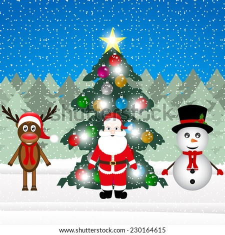 Santa Claus, a reindeer and a snowman near a decorated Christmas tree in the forest