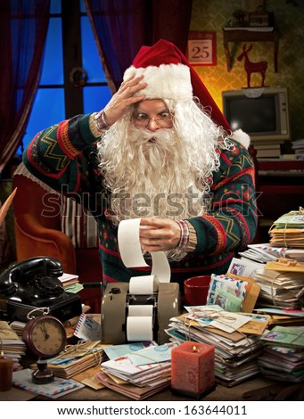 Santa Claus accountant going over figures and very upset by the result.