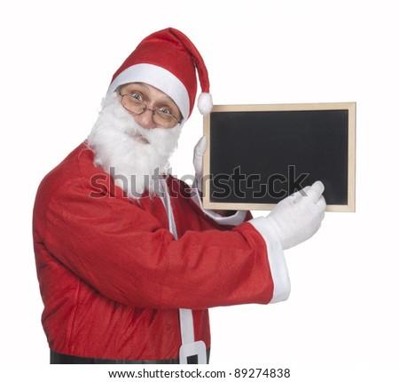 santa claus and a little blackboard - stock photo