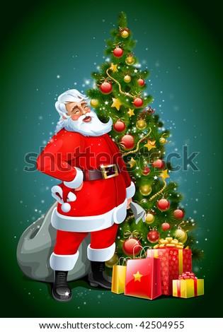 santa claus and christmas tree and gifts - Santa Claus Tree