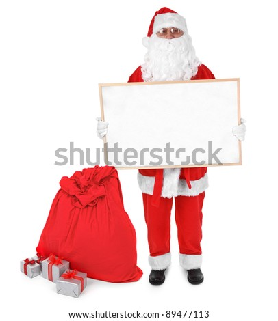 Santa claus and empty board on white background - stock photo