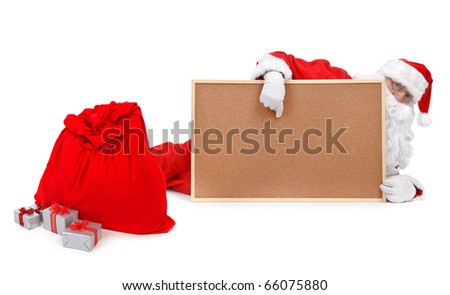 Santa claus and empty bulletin board  on white background - stock photo
