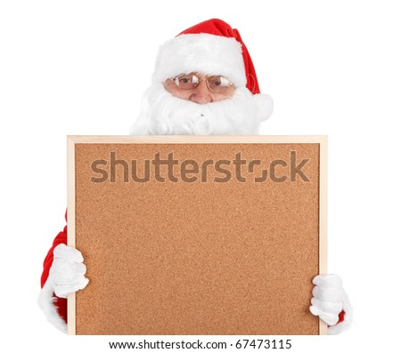 Santa claus and part of empty bulletin board on white background - stock photo